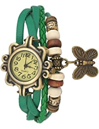 Sky Mart New Arrival Special Collection Butterfly Dori Festive Season Special Analog Dial Green Leather Dori Strap...