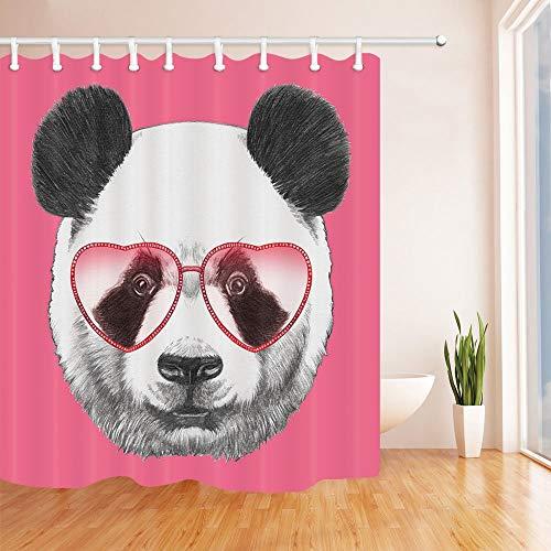 GAOFENFFR Schöne Tiere Duschvorhänge für Bad Porträt von Panda mit herzförmigen Sonnenbrillen Bad Duschvorhang 180X180 cm
