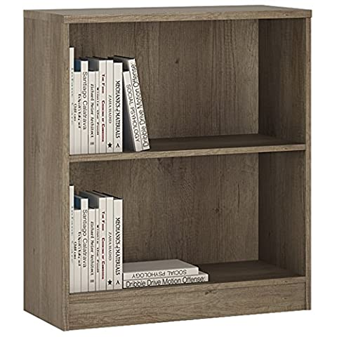 Furniture To Go 4 YOU Low Wide Bookcase with Melamine, 74 x 86 x 35 cm, Canyon Grey