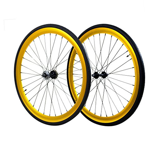 Wheel Set, Front and Fixed Gear Flip-Flop Rear Wheels Gold 45mm w/Kenda Tires 25c by Fixie Wheels