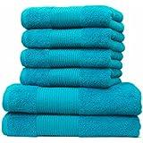 Liness Handtücher-Set 6 tlg 4 x Handtuch 50x100 cm 2 Duschtücher Badetücher 70x140 cm 100% Baumwolle türkis-petrol
