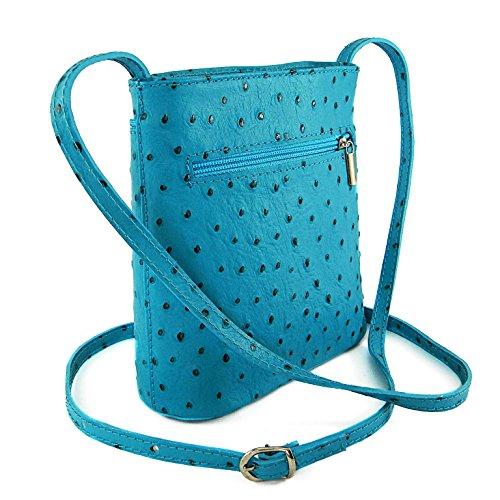 62037ccf89d88 Vera Pelle Handtaschen Italien Echt Leder Schultertasche Frauen Damen  Tasche Handtasche Ital Bag Blau Hell StraußenPrägung