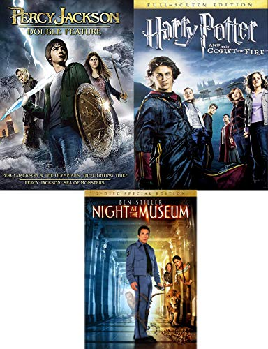 Greek Wizards & A Night at the Museum + Witchcraft and Wizardry Harry Potter Goblet of Fire & Percy Jackson Olympians: Lightning Thief & Sea of Monsters3 Movie Family Fantasy Pack (Harry Potter Goblet Film)