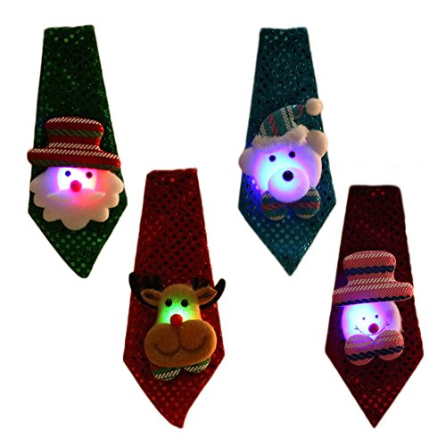 4PCS Cute Xmas Santa Necktie with LED Light Christmas Decoration for Kids Adults