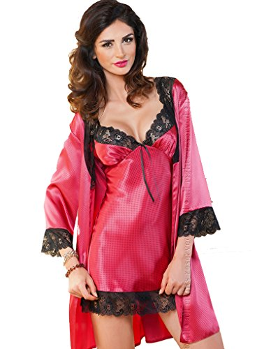 Irall Jennifer Burgundy and Black Lace Satin Nightdress - 51QyXtXMwUL - Irall Jennifer Burgundy and Black Lace Satin Nightdress