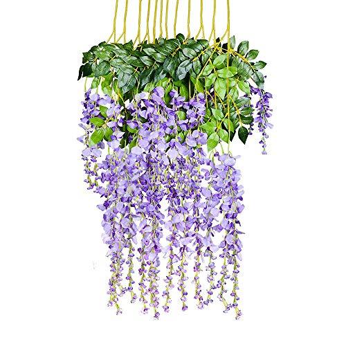 YQing Kunstblumen, künstliche Glyzinien, Heimdekoration, jeder Strang ist 110 cm lang, aus Seide, für Hochzeiten, zu Hause, Garten, Party, 12 Stück (Violett)