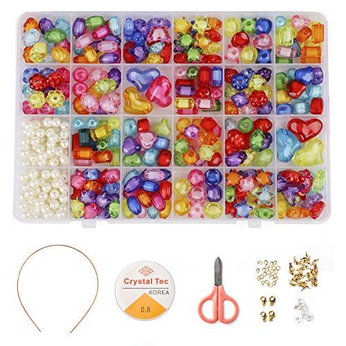 Phogary Kinder DIY Perlen Set (500 Stück), DIY Armbänder Halsketten Perlen Kristallperlen für die Schmuckherstellung Kinder Perlen Halskette Armband Machen Kit, Perlen Geschenkset für Mädchen