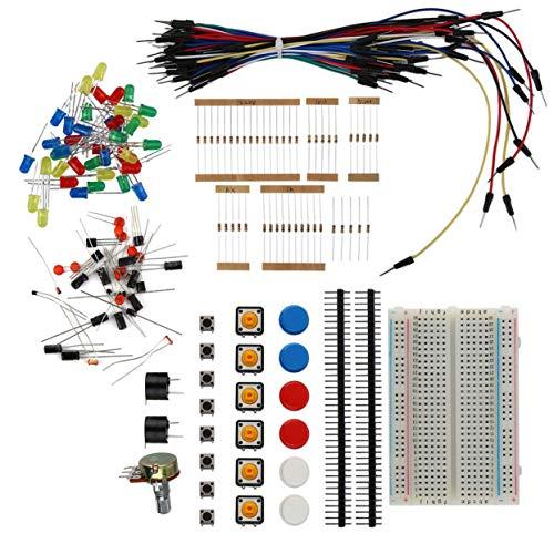 LoveOlvidoD Elektronische Starter Kit Widerstand Summer Breadboard LED Kabel Kondensator LED Potentiometer Für Arduino Elektronische Fans (Kondensator Car Kit)