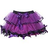 Mini Short Sweet Club Röcke Damen Multilayer Ballkleid Gothic Lolita Rock Tüll Petticoat (lila)