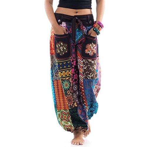 Patchwork Hippie Hose Haremshose Aladinhose Pumphose für Damen & Herren 36 38 (Kostüme Männer Hippie)