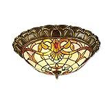 LED-Deckenleuchte, Klassische Tiffany-Lampen Deckenbeleuchtung, Eleganter Vintage Decken-Licht für Schlafzimmer Wohnzimmer Cafe, Rund Glas-Schatten und Bronze-Farbe Metall Lampekörper, Ø 42cm (C)
