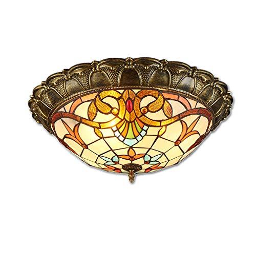 LED-Deckenleuchte, Klassische Tiffany-Lampen Deckenbeleuchtung, Eleganter Vintage Decken-Licht für Schlafzimmer Wohnzimmer Cafe, Rund Glas-Schatten und Bronze-Farbe Metall Lampekörper, Ø 42cm (C) -