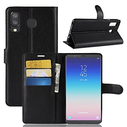 LZS Hülle für Samsung Galaxy A9 Star/A8 Star Leder Flip-Cover Handyhülle Brieftasche mit Kartensteckplatz & Stand Magnetverschlus Kompletter Schutz Samsung Galaxy A9 Star/A8 Star Handy Case