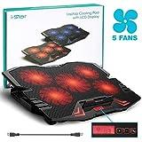 Ventola per PC Portatile - i-Star Base di Raffreddamento per Notebook Fino a 15.6' - 5 Ventole con Velocità Regolabile, 2 Porte USB e Luce LED (Rosso)