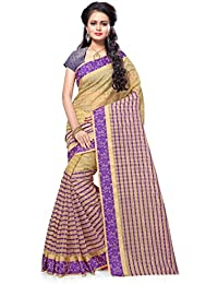 SATYAM WEAVES WOMEN'S ETHNIC WEAR POLYCOTTON SAREE WITH BLOUSE PIECE.(CHIKU CHOKDA) (PURPLE)