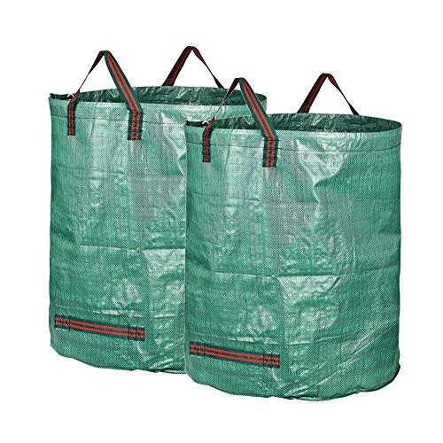 Gartenabfallsäcke groß, gartensack Set 2 pcs 272 L (H77 cm, D67 cm), wasserdichte Müllsäcke mit Griffen, reißfeste Laubgrassäcke,2pcs