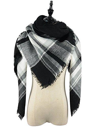 Azue Schal Damen Winter XXL Karoschal Übergroßer Deckenschal Poncho mit Fransen Farbe A44
