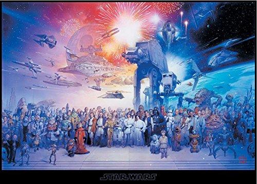Star Wars XXL Poster Cast (140cm x 100cm) + Original tesa Powerstrips® (1 Pack/20 STK.) (Poster Star Original Wars)