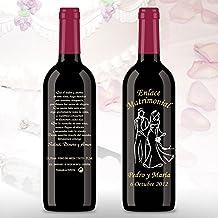 50 Botellas de vino Tinto (3/8) decorada directamente sobre vidrio con dibujo de Pareja de novios en blanco y negro, para detalles de boda, ...