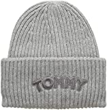 Tommy Hilfiger Damen Strickmütze Logo Patch Beanie, Grau (Light Grey Heather 050), One Size (Herstellergröße: OS)