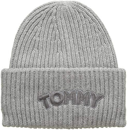 Tommy Hilfiger Damen Logo Patch Beanie Strickmütze, Grau (Light Grey Heather 050), One Size (Herstellergröße: OS)