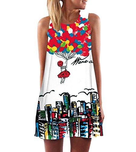 365-Shopping Damen Sommer Chiffon Kleider Sommerkleid Strandkleid Lose Minikleid Partykleider Top (M...