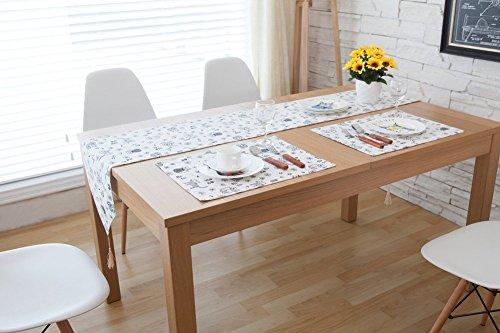 (CHEZMAX Fresh Farbe Baumwolle Leinen wendbar Picknick Tischläufer Party Bankett Dekoration Outdoor Tischdecken mit Lange Fransen für Esstisch Katze schwarz und weiß 30,2x 199,9cm)