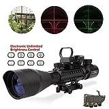 Lovebay C4-16x50EG Taktische GewehrZielfernrohre, luftgewehr zielfernrohr Dual Beleuchtete und Holographische 4 Reticles Red & Green Dot Sight für die Jagd Optic Sight Visier (12 Monate Garantie)