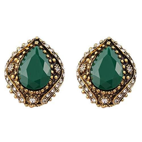 (LCM Damen Vintage Ohrringe, böhmische Ohrringe, geeignet für Hochzeiten, Geburtstage, Werbeaktionen, Auszeichnungen Gedenken,Green)