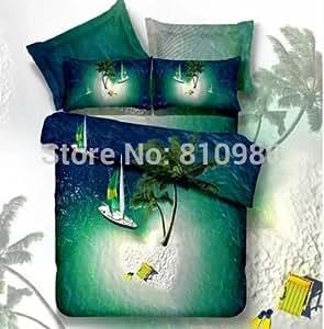 Expédition gratuite 100%  coton Hawaii Love Island queen size Drap Parure de lit avec housse de couette Taie d'oreiller Taille queen 4 pièces