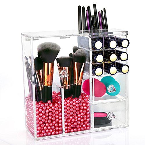 HBF Organisateur Acrylique Maquillage Pinceaux Boîte Cosmétique Coffret avec des Perles Roses (2)…
