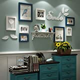 TING- 8 Multi Photo Frames Set Estilo nórdico Sala de estar de madera Rural Foto Cuadro Cuadro de pared Pintura combinada ( Color : Azul+blanco )