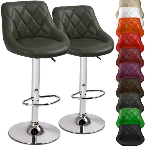 Miadomodo Swivel Home Leather Kitchen Barhair Stool Adjust. Height 2pcSet Choice of Colour (Grey)