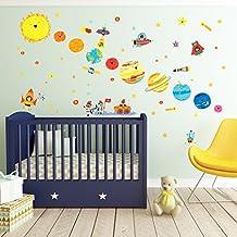 Decowall DW-1707 Planeta Espacio El Universo Vinilo Pegatinas Decorativas Adhesiva Pared Dormitorio Salón Guardería Habitación Infantiles Niños Bebés