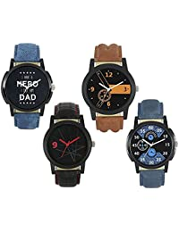 Xforia Boys Watch Stylish Multicolor Leather Analog Watches For Men Pack Of 4 Low Price