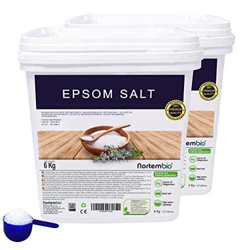 Epsom Salz NortemBio 2x6 Kg. Konzentrierte Magnesiumquelle, 100% Natürliches Salz. Bad und Körperpflege. E-Book Inklusiv.