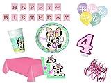 XXL Party Deko Set 4.Geburtstag Minnie Mouse Flamingo Kindergeburtstag für 16 Personen 61 teilig rosa türkis Mädchen