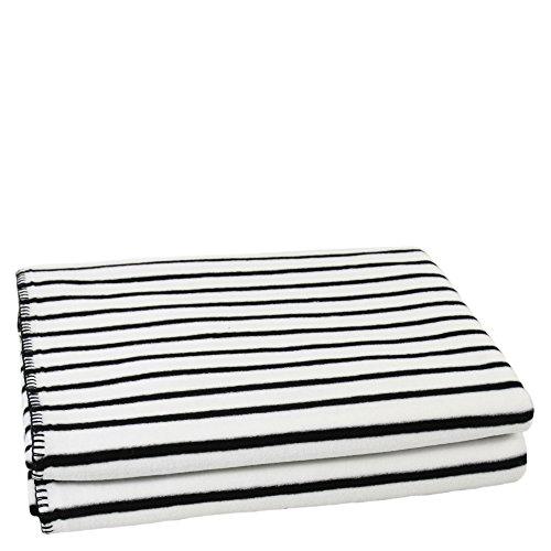 Soft-Ice-Decke - gestreifte Fleece-Decke mit Häkelstich - flauschige Kuscheldecke - 160x200 cm - 005 snow - von 'zoeppritz since 1828' - Gestreifte Weiße Decke