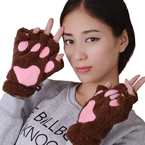 DQANIU Reizende Handschuhe, Frauen-Winter-Handgelenk-Arm-Wärmer gestrickte Tastatur-Lange Fingerlose Handschuhe halber Finger-Katzen-Greifer-Plüsch-niedlicher Handschuh