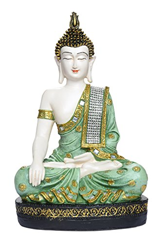 HEERAN ART Polyresin Sitting Buddha Idol Statue Showpiece 27 cm Green and White