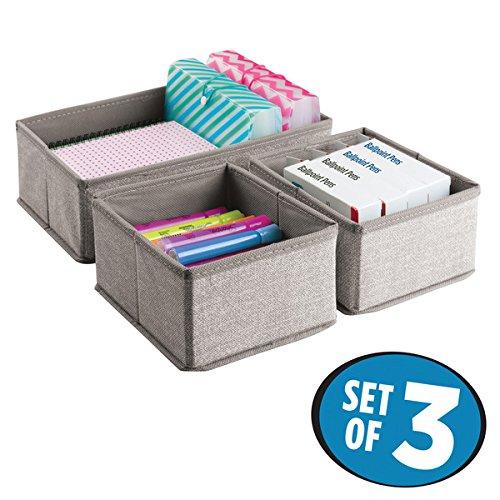 mDesign 3er-Set Schubladen Organizer – Stoff Aufbewahrungsboxen für Büroutensilien – kleine Schubladeneinsätze für Stifte, Haftnotizen, Büroklammern etc. – beige