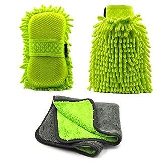 AutoEC Autowaschhandschuh Mikrofaser, Chenille Autopflege-Reinigungsset, Autowaschschwamm mit Gummiband & Mikrofaser-Poliertuch & Ultra-Soft Nudelhandschuh, Nass oder Trocken, Auto wasch set