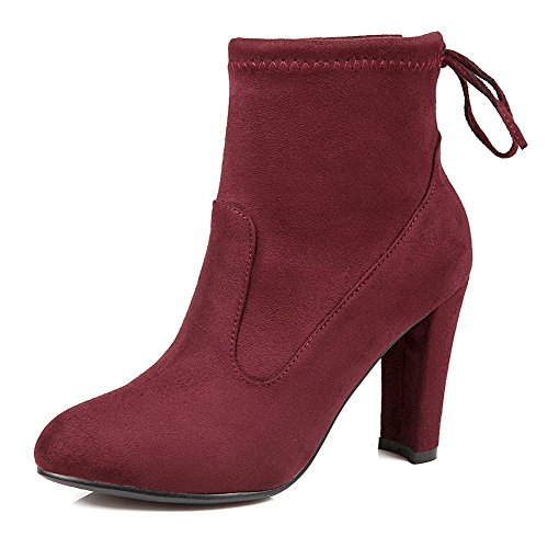 allhqfashion-womens-high-heels-frosted-low-top-solid-lace-up-boots-claret-38