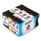 Uoopo Ersetzt für Canon PGI-1500XL PGI-1500 Druckerpatronen mit hoher Reichweite für Canon Maxify MB2350 MB2050 MB2300 MB2000 MB2150 MB2755 MB2155 MB2750 (Schwarz, Blau, Rot, Gelb)