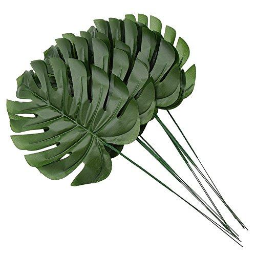 Yalulu 20 Stück Palmenbusch künstliche Palm Klinge / Flügel Turtle Simulation grüne Blätter Wand Gartendekoration gefälschte Pflanzen Kunstpalmen (Dunkelgrün) (29 Palms, Ca)