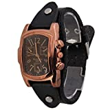 #7: Rrimin Unisex Men Women Leather Band Rectangle Dial Wristwatch Quartz Watch Brown