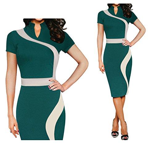 Lrud Damen Elegant Etuikleider mit Kurzen Ärmeln Abendkleid Knielang Business Kleider