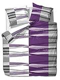 La ropa de cama SEERSUCKER etérea Mikrofaser HUNTER estriado violeta, naranja, todos los tamaños, microfibra, morado, 3 tlg. 200x220 cm + 2Stk. 80x80 cm