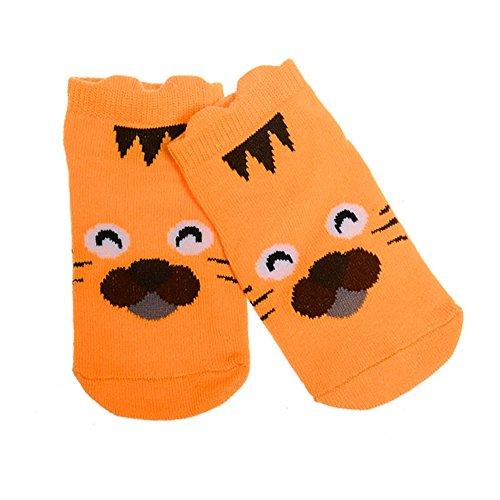 PinzhiKinder Socken Cute Cartoon Baumwolle Socken für 0-2 Jahre Olds Baby Jungen Mädchen im Frühjahr Herbst (Orange Tiger) (Terry Socken Cuff)