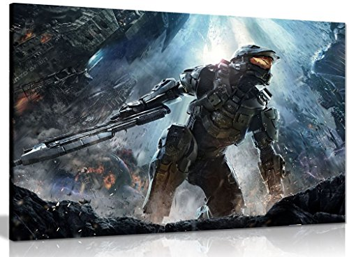 Halo Master Chief Schlacht Leinwand Kunstdruck Bild, A1 76x51 cm (30x20in) Chief Wand